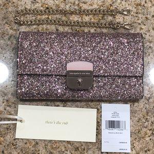 Kate Spade Rose Gold Glitter purse/wallet/clutch